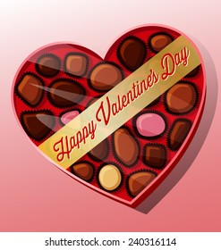 vector valentine's day candy heart shaped box chocolates