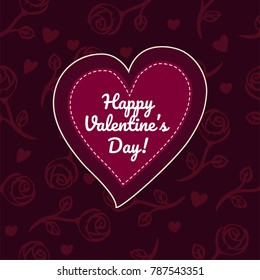 vector valentine's day card. Layered flat heart with white edge and stitches on dark red  background  with randomly placed roses and little hearts