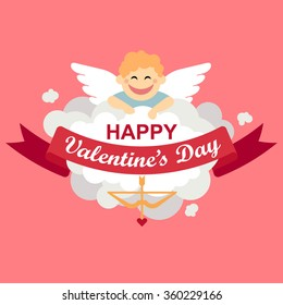 Vector Valentine's day card. Smiling cupid on the cloud on the pink background.Ribbon with lettering.