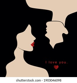 Vector valentine's day card, story or poster, abstract man and female shapes and silhouette. Contemporary art. Abstract couple in love. Postcard with inscriptions - i love you