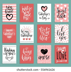 Vector Valentine's day cards templates. Hand drawn February 14 gift tags, labels or posters collection. Vintage love lettering background.