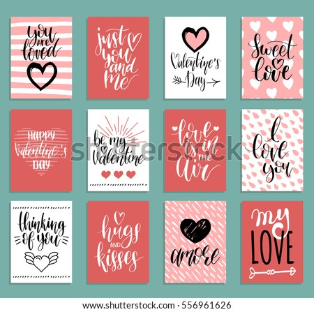 Vector Valentines Day Cards Templates Hand Image Vectorielle De