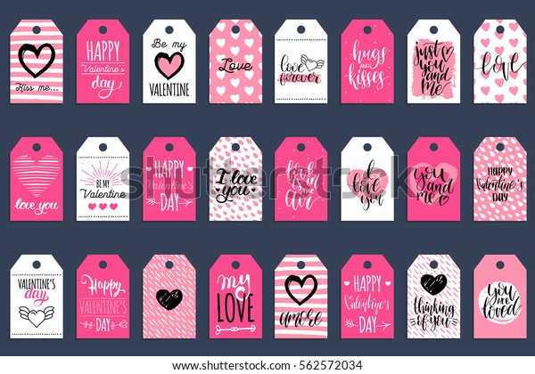Vector Valentine's Day cards templates. Hand written February 14 gift tags, labels or posters collection. Vintage love lettering backgrounds set.