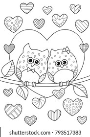 Valentine Day Coloring Pages Stock Illustrations, Images ...