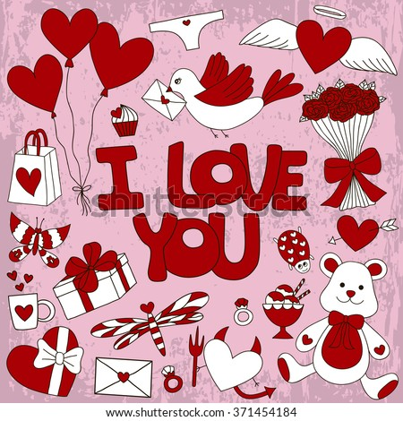 Vector Valentines Day Elements Doodle Style Stock Vector Royalty