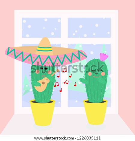 Vector Valentines day greeting card with copuple of cactuses in love on windowsill.  Cactus-boy with sombrero and ukulele playing music to Cactus-girl with flower on her head. Winter behind the window