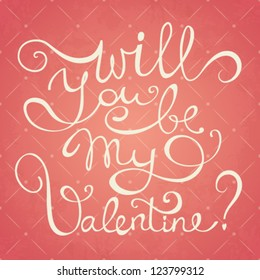 Vector Valentine's day hand drawn calligraphy card template