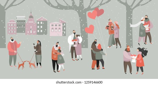Vector Valentines day Illustration with happy couples with bouquets of flowers and balloons in the city park. Cartoon style banner