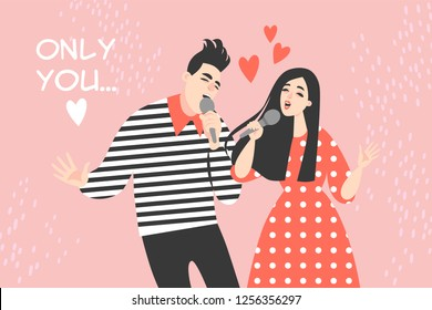Vector Valentines day Illustration with young couple singing a love song.  Funny cartoon characters