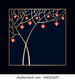 Vector Valentine's day invitation card with tree and hearts and space for text.
