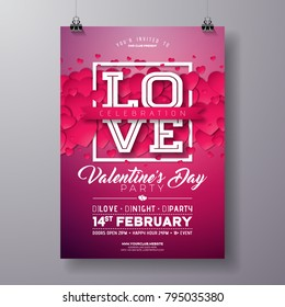 Vector Valentines Day Party Flyer Design with Love Typography Letter and Heart on Clean Background. Celebration Poster Template for Invitation or Greeting Card.