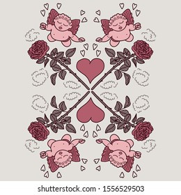 Vector valentines day placement print. Simple cute doodle graphic with angel, rose and heart hand drawn. Great for invitation, tshirt print, sticker, decor, valentines fashion.