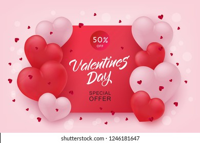Vector valentines day sale poster, special offer banner with hearts in black frame, hand written lettering. Romantic holiday commercial background, online store clearance, shopping promotion template.
