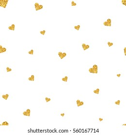 Vector Valentines day seamless pattern background with hearts of gold