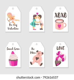 Vector Valentine's Day tags templates. Romantic gift tags, labels collection.