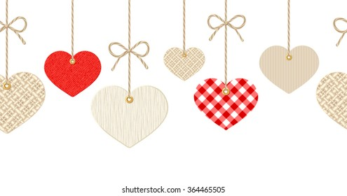 Vector Valentines horizontal seamless background with hanging textured paper, fabric and wooden hearts on white.