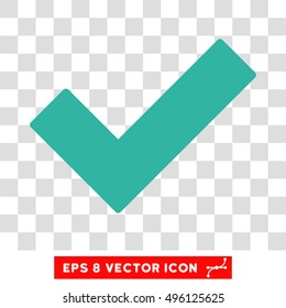 Vector Validation Tick EPS vector pictogram. Illustration style is flat iconic cyan symbol on a transparent background.