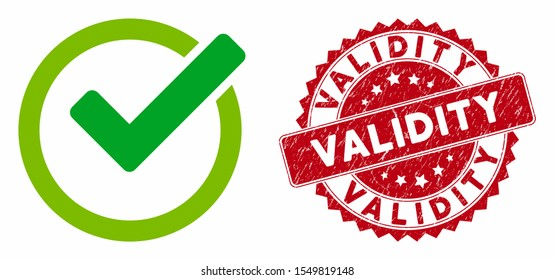 Vector validity icon and grunge round stamp seal with Validity caption. Flat validity icon is isolated on a white background. Validity stamp seal uses red color and distress surface.