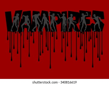 Vector vampire poster with double exposure effect. Vampires Text with silhouettes of zombie and with streaks isolated on the red background. Banner.