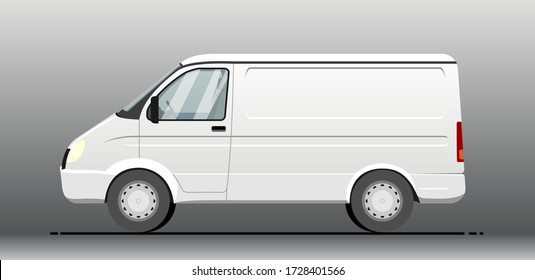 Vector van, lorry, side view. White empty van template for advertising. Freight transportation, delivery of goods, goods, products. Modern flat vector illustration isolated.