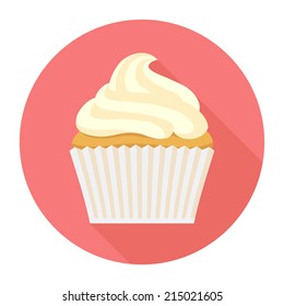 Vector vanilla cupcake with frosting round icon featuring long shadow | Vanilla fairy cake with icing circle icon with pink background