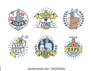 Vector Vaping Badges, Modern Line Art Labels, Vape Shop Logo