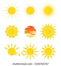 Vector of variety shape sun icon on white background