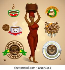 Vector various coffee design elements