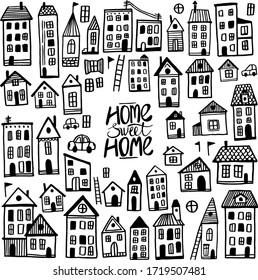 vector various houses doodle set