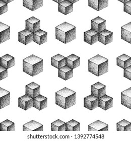 vector various monochrome blackwork engraving vintage geometric platonic solid illustrations ornament decoration seamless pattern white background