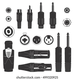 Vector various professional music audio xlr jack rca speakon connector set input output plugs isolated on white background