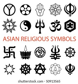 vector. various religious symbols asian