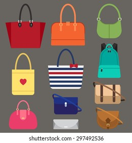 Vector various types of woman bags. Flat style.