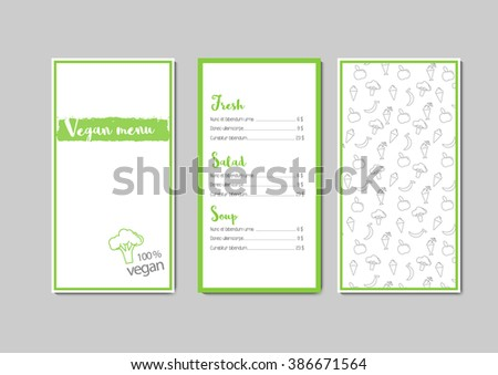 vector vegan menu template 3 pages stock vector royalty free