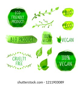 Vector Vegan Menu/Packaging Labels Icons, Isolated on White Background Marks, Watercolor Elements.