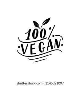 Vector vegan sign. 100% vegan logo for banner, label, packaging.