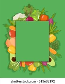 Vector vegetable background. Flat design