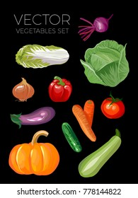 vector vegetable set on black background