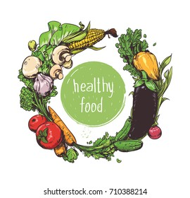 Vector vegetables card. Colour round background