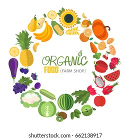 Vector vegetables and fruits illustration. Circle frame with fruit and vegetable icons. Concept illustration for groceries, agriculture stores, packaging and advertising.