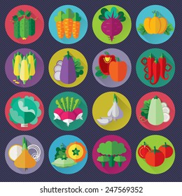 vector vegetables icons set