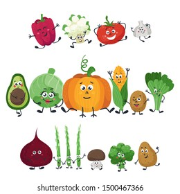 Vector vegetables isolated in a cartoon style