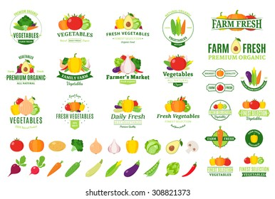 Vector vegetables logo, label and icons