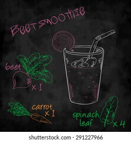 vector vegetables smoothie with ingredients list. Beet, carrot, spinach