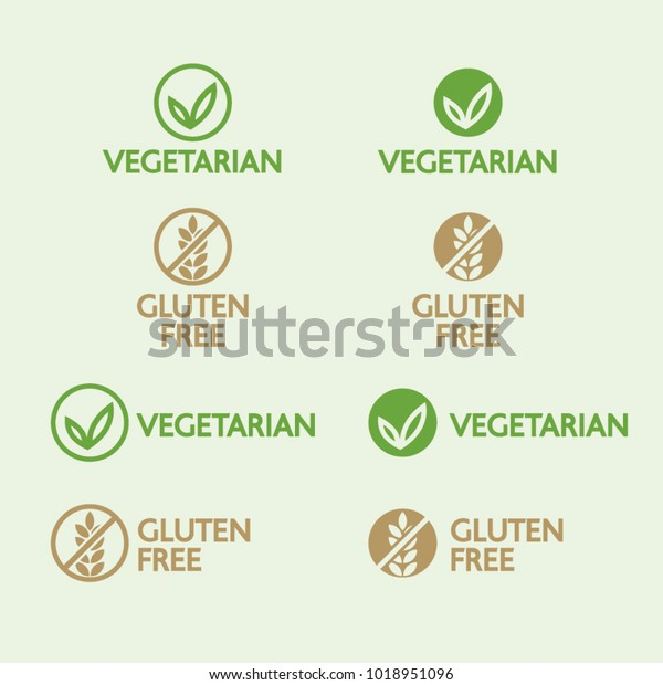 Vector vegetarian and gluten free logos isolated on light green background