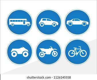 Vector vehicle icons car bike bus motorcycle