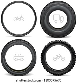 Vector Vehicle Tires with Line Icons isolated on white background