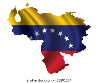 Vector of Venezuela flag blowing in the wind in Venezuela map shape