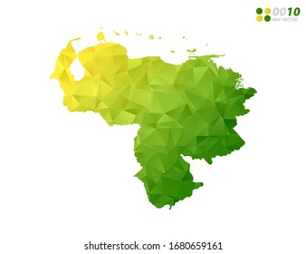 Vector Venezuela map green and yellow polygon triangle mosaic with white background. style gradient.