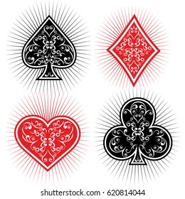 vector ventage suits of playing cards